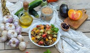Salade de petit épeautre aux légumes confits