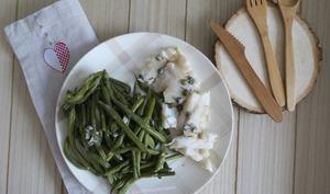 Cassolette de filet de perche et câpres aux haricots verts et cancoillotte