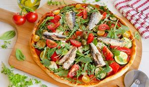 Pizza chèvre courgettes sardines
