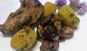 Palombes confites et poêlée de pommes de terre aux cèpes