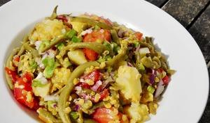 Salade composée complète à la sauce chien