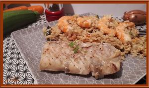 Dos de cabillaud aux carottes, courgette et crevettes