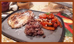 Poulet grillé aux herbes de Provence et poivrons marinés au basilic
