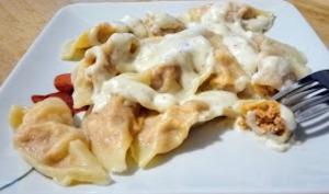 Les raviolis poulet chorizo et sauce parmesan