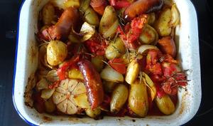 Plaque four pommes de terre et chorizo