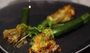 Fleurs de courgette ricotta jambon