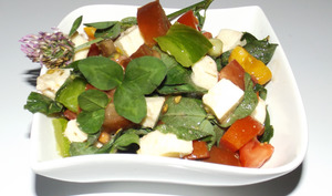 Salade de tomates aux trèfles des prés