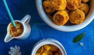 Boulettes de lentilles corail et ananas rôti