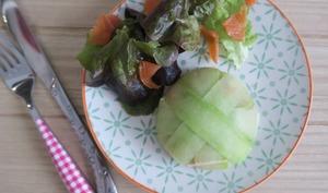 Dômes de truite fumée et concombre, au fromage de chèvre fais et tomates séchées