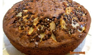 Gâteau au chocolat, noix et poires