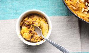 Bread pudding au potimarron, au beurre de cacahuète et au chocolat
