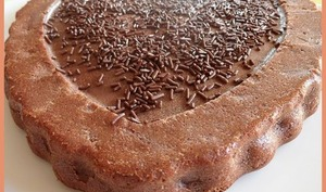 Gâteau coeur fondant à la ricotta chocolat et poires