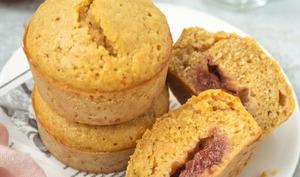 Muffins à l'avoine et à la confiture de fraise