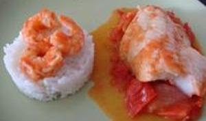 Filet de Dorade sur Lit de Tomates et ses Petites Crevettes