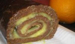 Gâteau Roulé au Chocolat et à l'Orange Curd