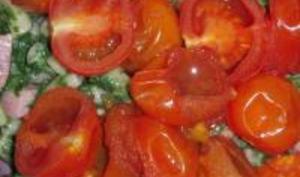 Macaronis Express aux Epinards, Jambons et Tomates Cerises