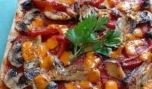 Pizza aux Filets de Sardine, Champignons et Mimolette