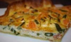 Quiche Saumon, Chèvre et Légumes Verts