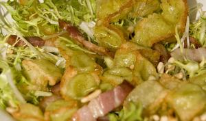Salade de ravioles du dauphiné en friture