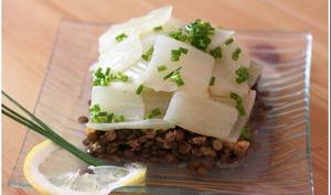 Salade de blettes et de lentilles, vinaigrette citronnée à la ciboulette