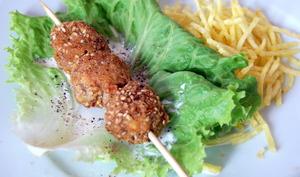 Pépites d'andouillettes aux graines de sésame et wasabi