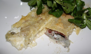 Cannelloni chèvre-coppa-noisettes