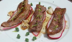 Foie de maigre, radis et macroptère.
