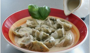 Cappelletti au basilic, sauce crème à l'échalote
