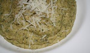 Purée de courgettes et flocons de quinoa