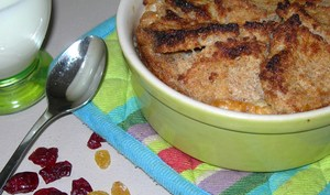 English Bread & Butter Pudding with dried Apricots, Cranberries and Sultana's raisins