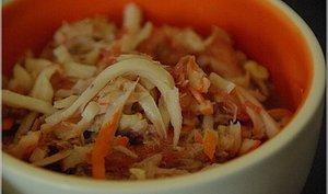 Salade de pamplemousse et miettes de crabes