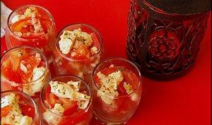 Verrines de tomates et mozarrella