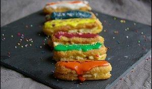 Mini éclairs à la créme pâtissière multicolores