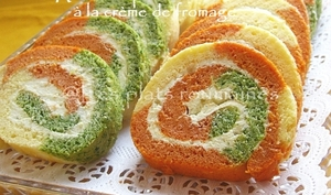 Roulé apéritif tricolore à la crème de fromage