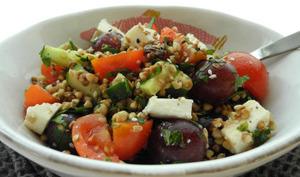 Taboulé de sarrasin aux deux raisins et au fromage frais de brebis