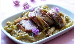 Filet mignon de porc à la rhubarbe et jambon de Parme