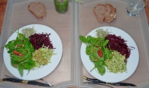 Plateau TV tout cru : Smoothie courgettes-épinards-graines de chia / Trio de salades