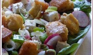 Dés de panisses en mesclun pour une salade ensoleillée