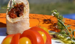 Dinde au chorizo, tomates confites et mozzarella