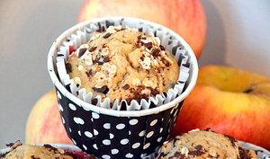 Muffins aux pommes, chocolat et farine de châtaigne