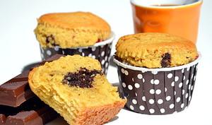 Muffins coeur fondant chocolat-noisette