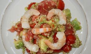 Salade Quinoa-Crevettes-Avocat-Pamplemousse