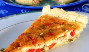 La tarte au fromage frais de brebis et aux poivrons rouges