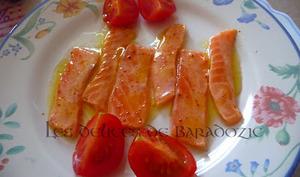 Carpaccio de saumon mariné au piment d'Espelette