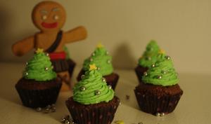 Cupcakes sapins de Noël chocolat menthe poivrée