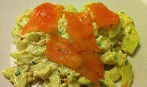 Salade de concombre au curry et saumon fumé