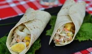 Tortillas au thon, surimi, œufs ,concombre et feta