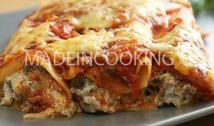Cannellonis au boeuf, sauce tomate et à la ricotta
