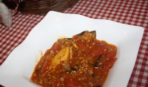 Mijoté d'aubergines au colombo et son blé/quinoa