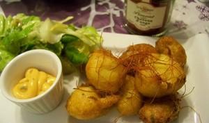 Pommes dauphines natures, au jambon, au curry et paprika